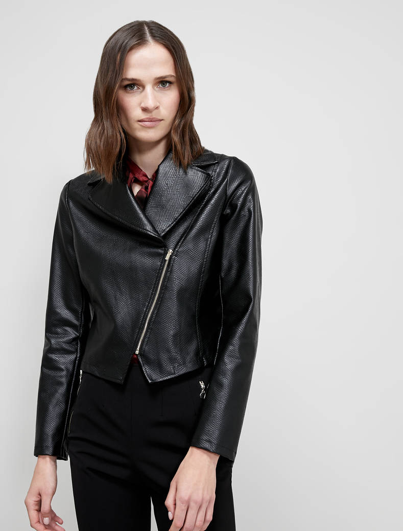 Coated jersey biker jacket - black - pennyblack