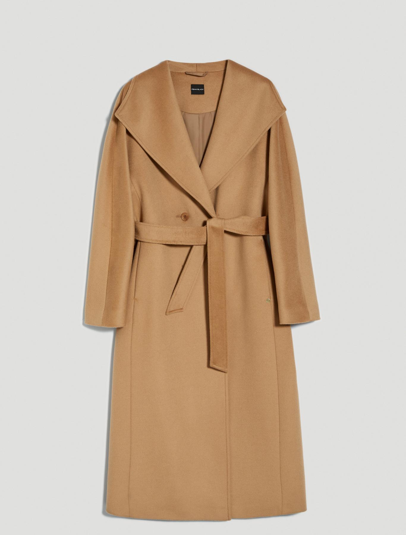 Wool velour midi coat - camel - pennyblack