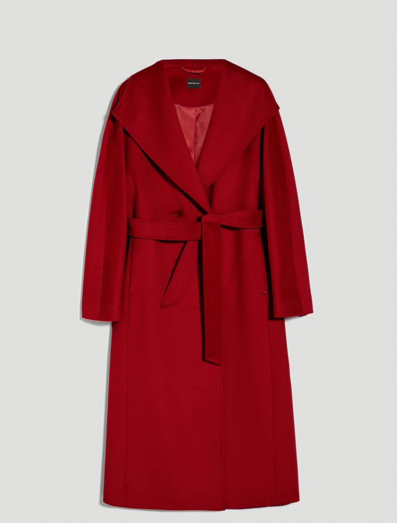 Wool velour midi coat - red - pennyblack