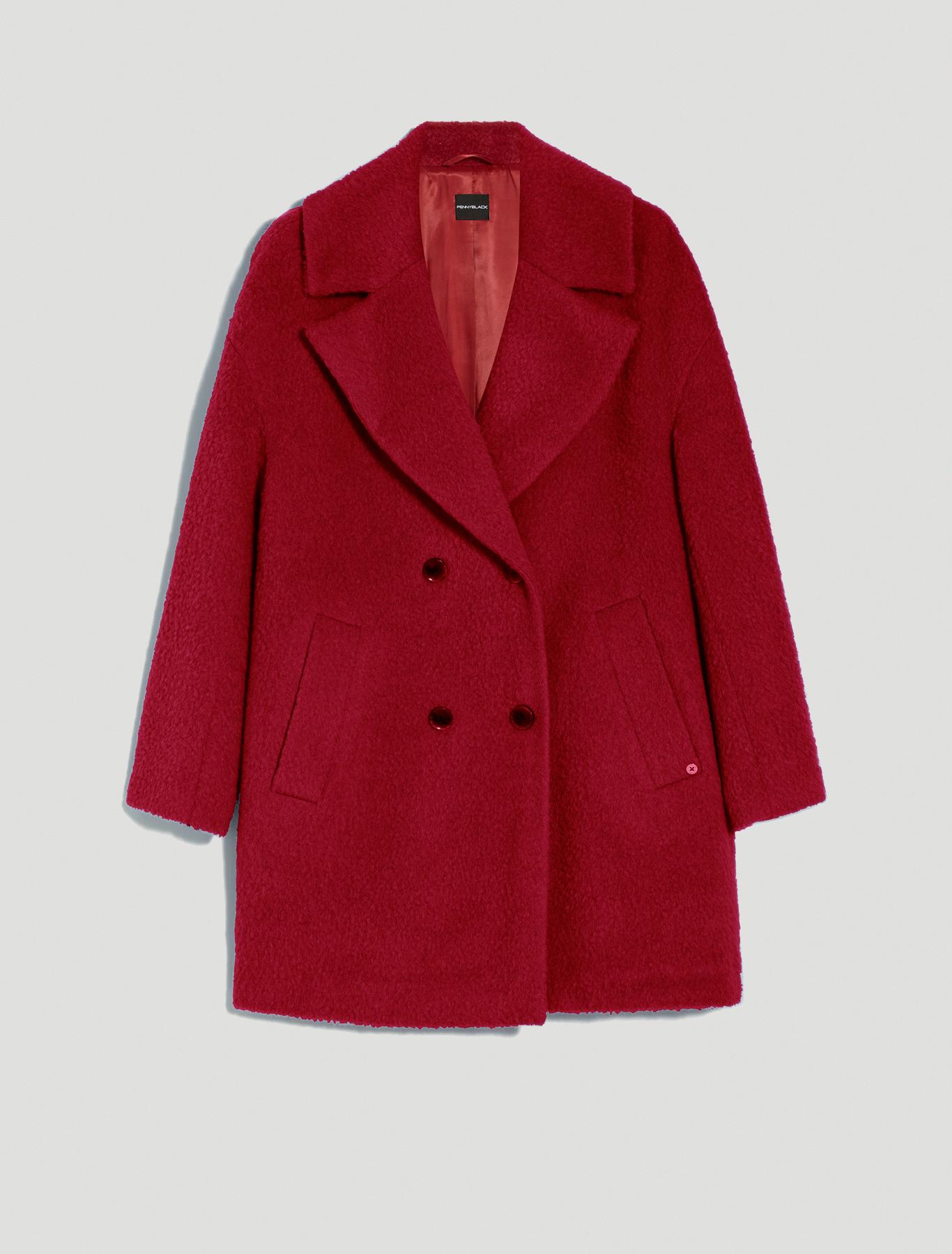 Wool and alpaca coat - burgundy - pennyblack