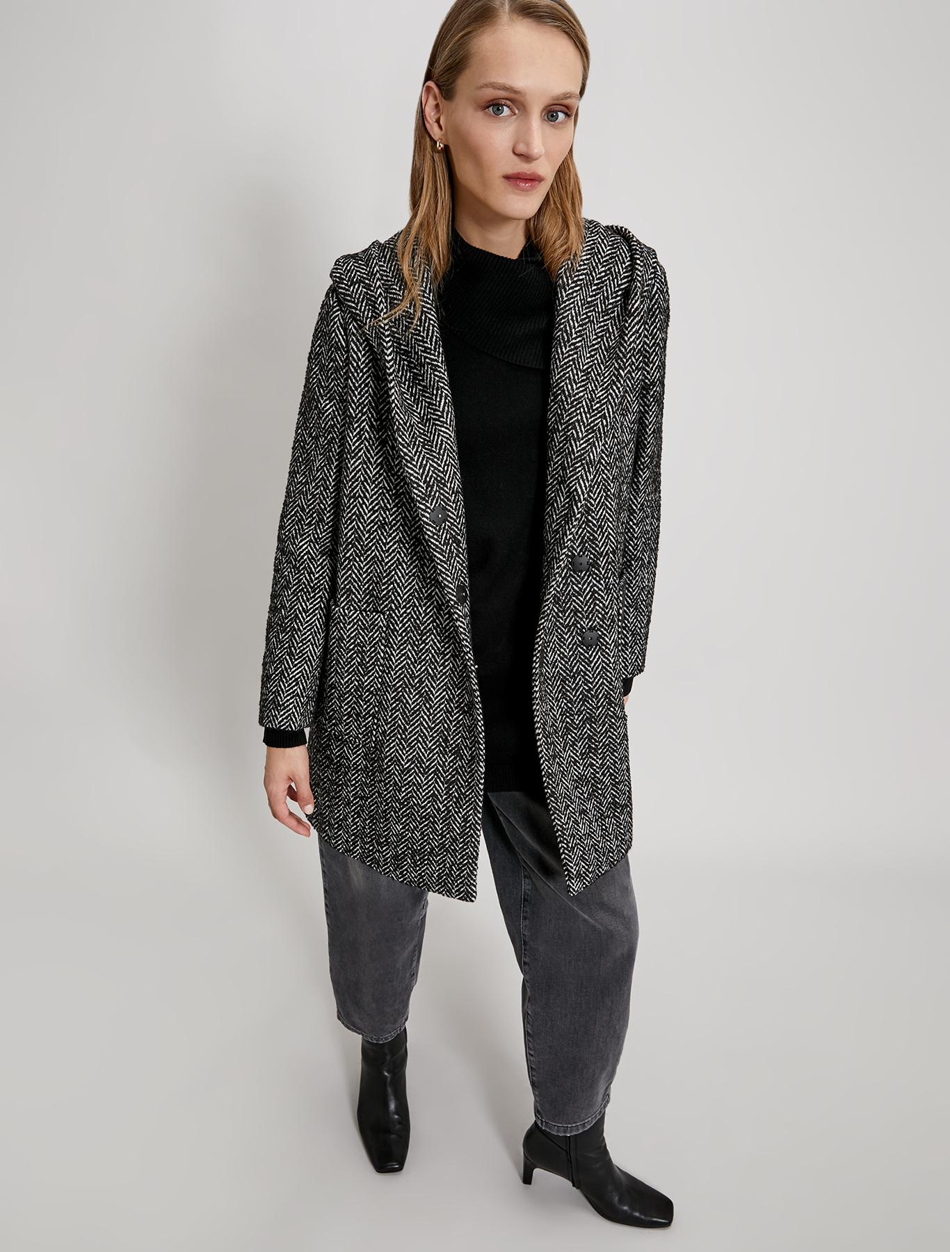 Chevron bouclé coat - black pattern - pennyblack
