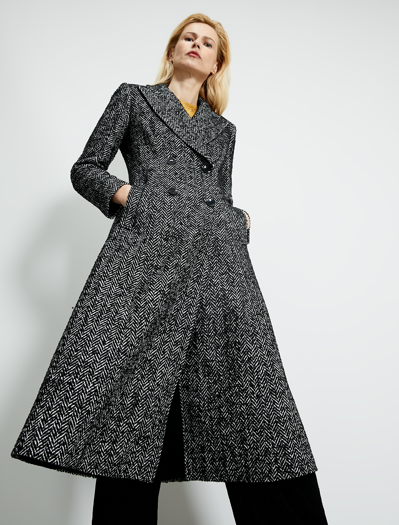 Chevron bouclé frock coat - black pattern - pennyblack