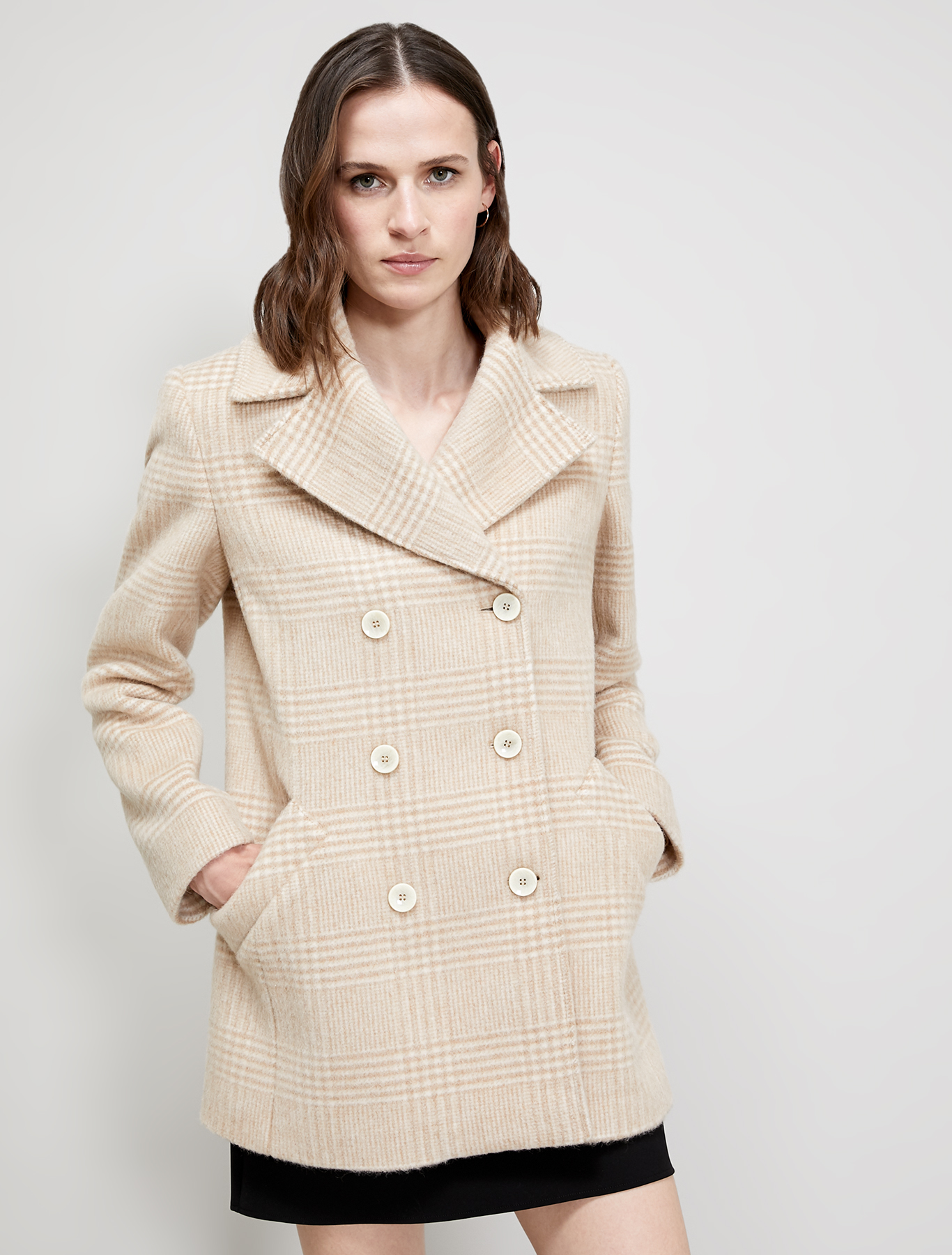 Prince of Wales check pea coat - camel pattern - pennyblack