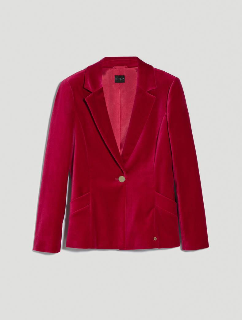 Slim velvet blazer - burgundy - pennyblack