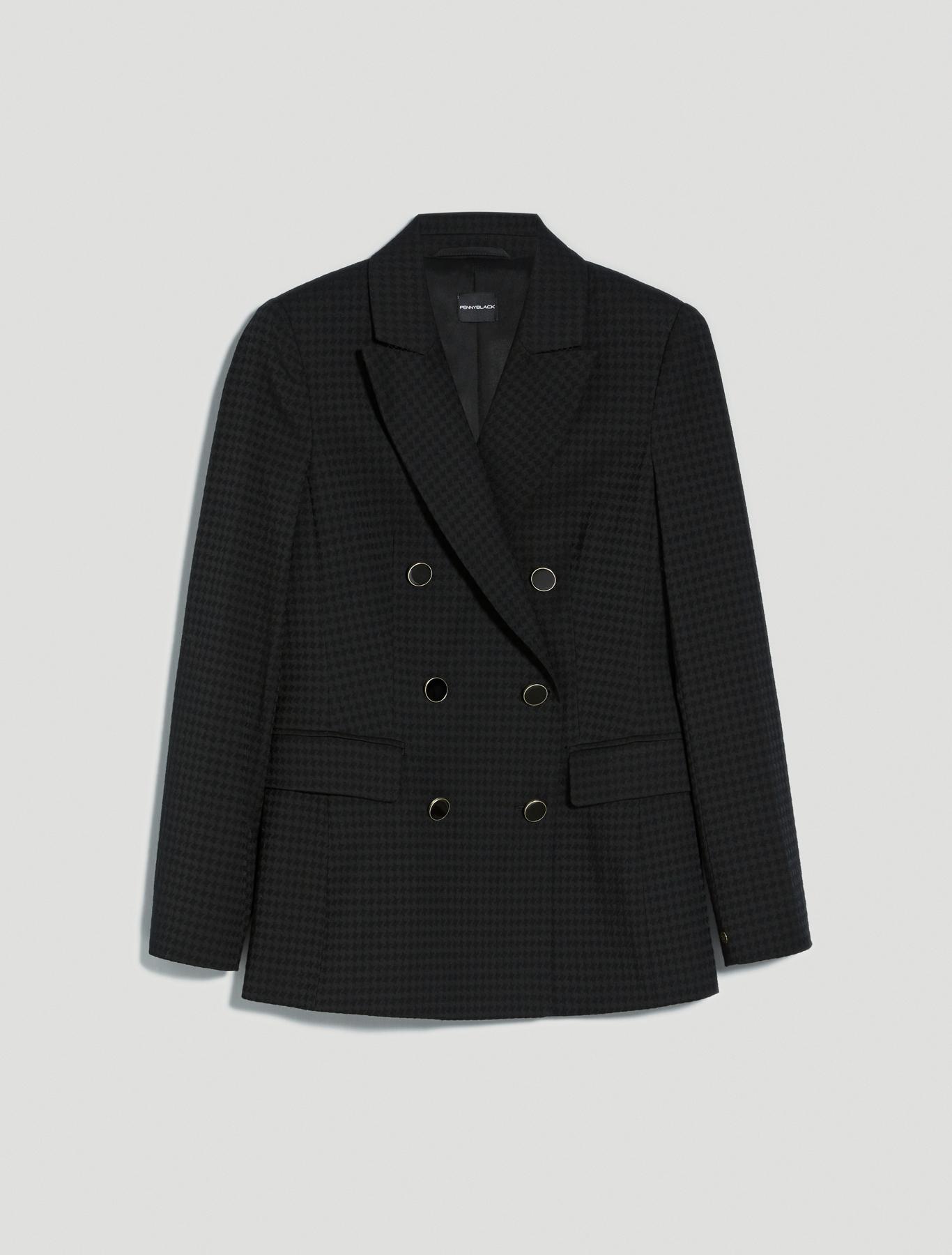 Houndstooth blazer - black - pennyblack