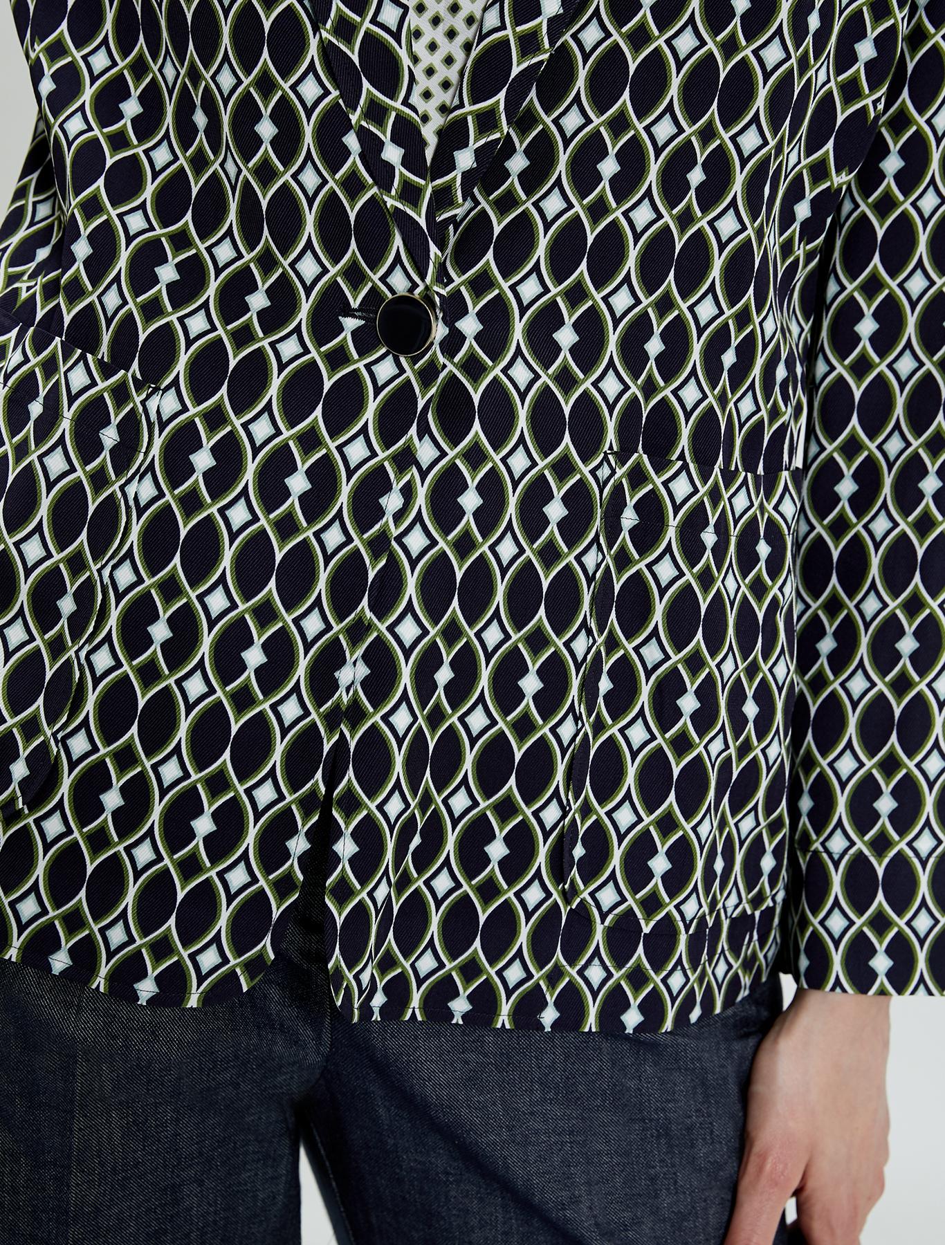 Deconstructed twill blazer - green pattern - pennyblack