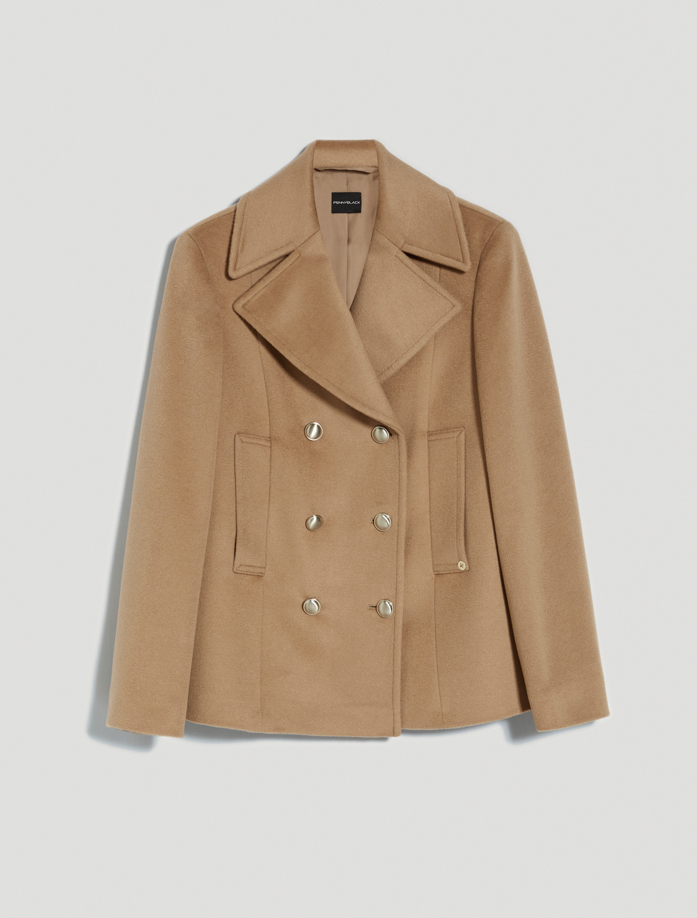Wool velour pea coat - camel - pennyblack