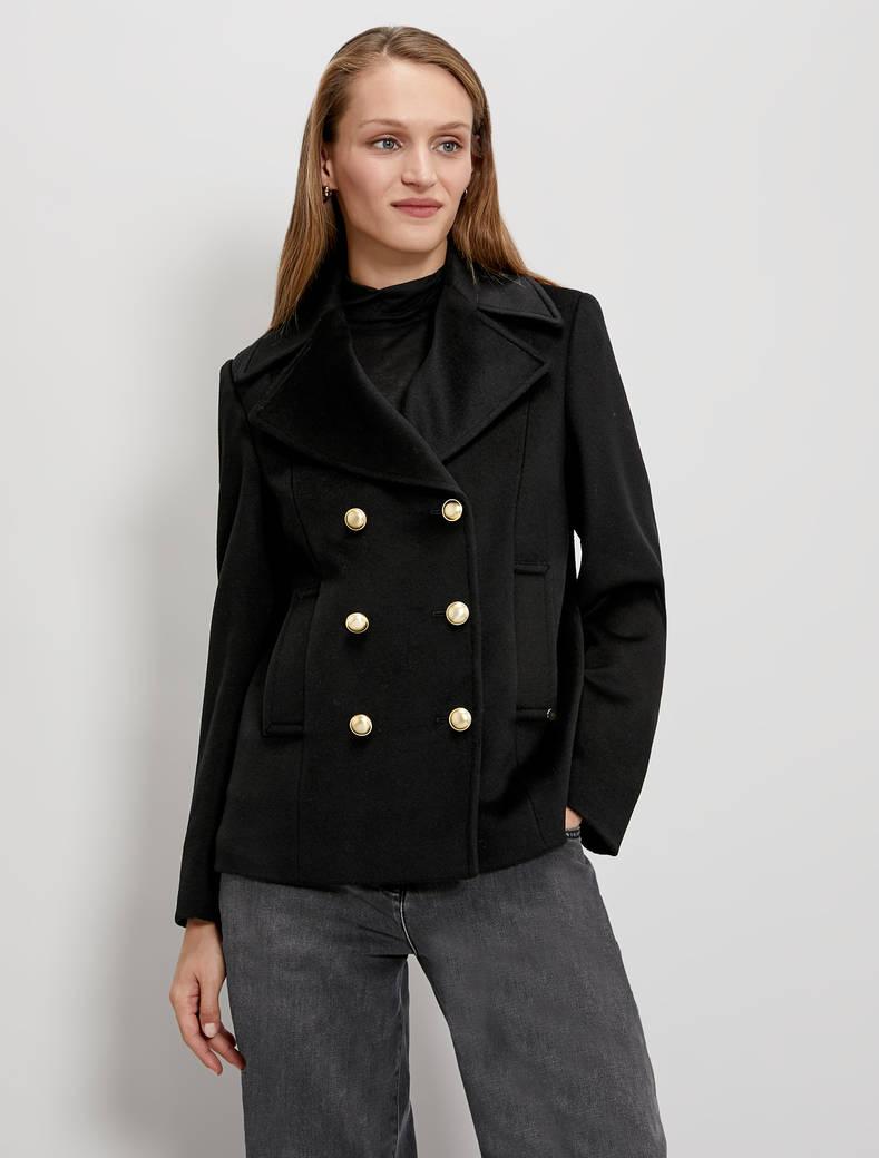 Wool velour pea coat - black - pennyblack