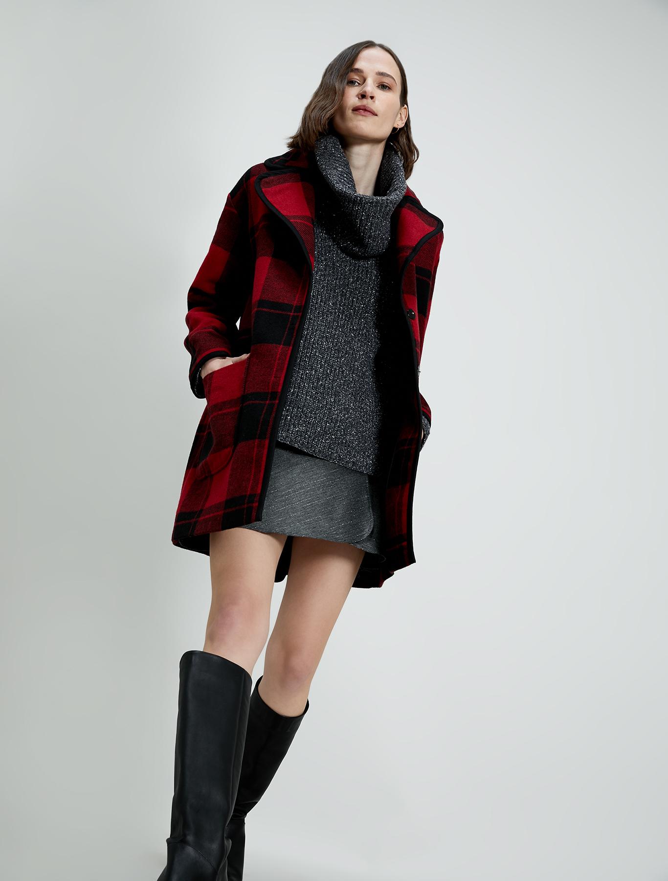 Pinstriped lamé mini skirt - medium grey pattern - pennyblack