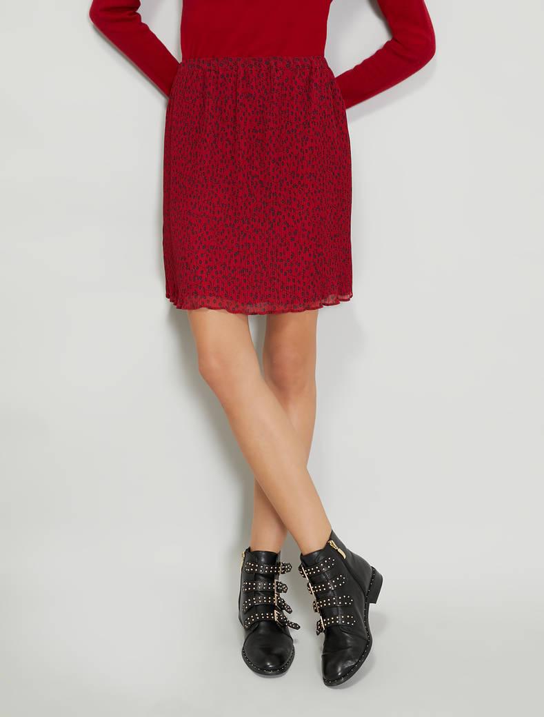 Micro-pleated midi skirt - red pattern - pennyblack