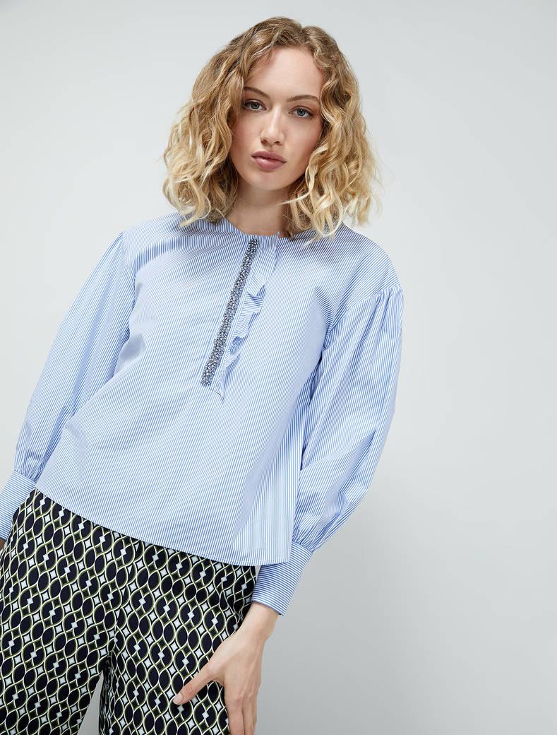 Blouse with bijou embroidery - light blue pattern - pennyblack