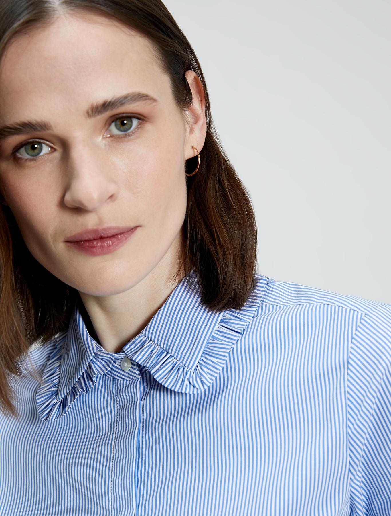 Ruched poplin shirt - light blue pattern - pennyblack