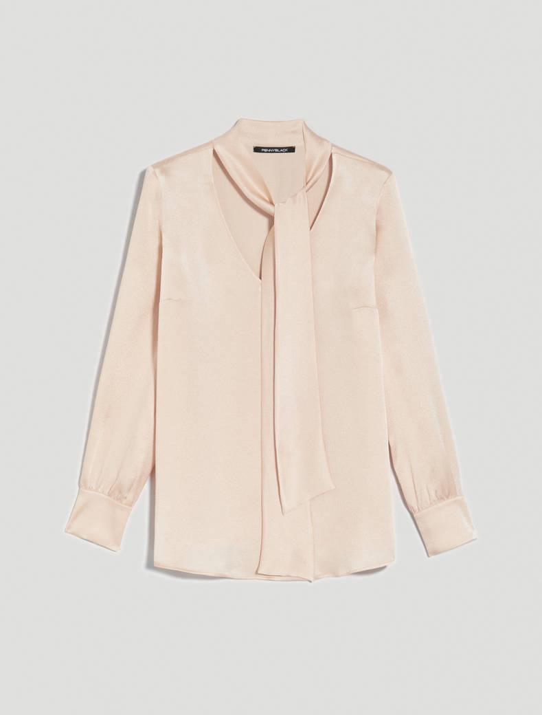 Blusa con collo a fiocco - rosa - pennyblack