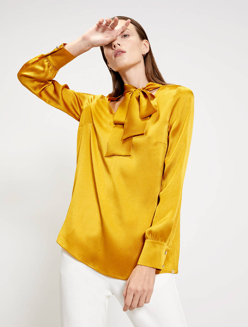 Blouse with neck bow - gold - pennyblack