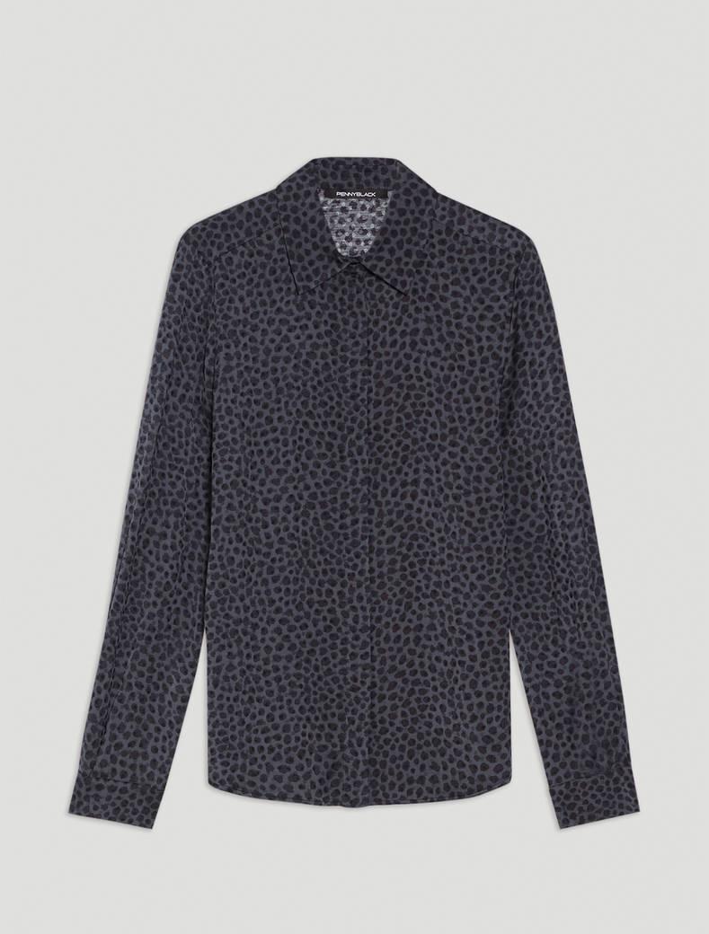 Jacquard patterned shirt - dark grey pattern - pennyblack