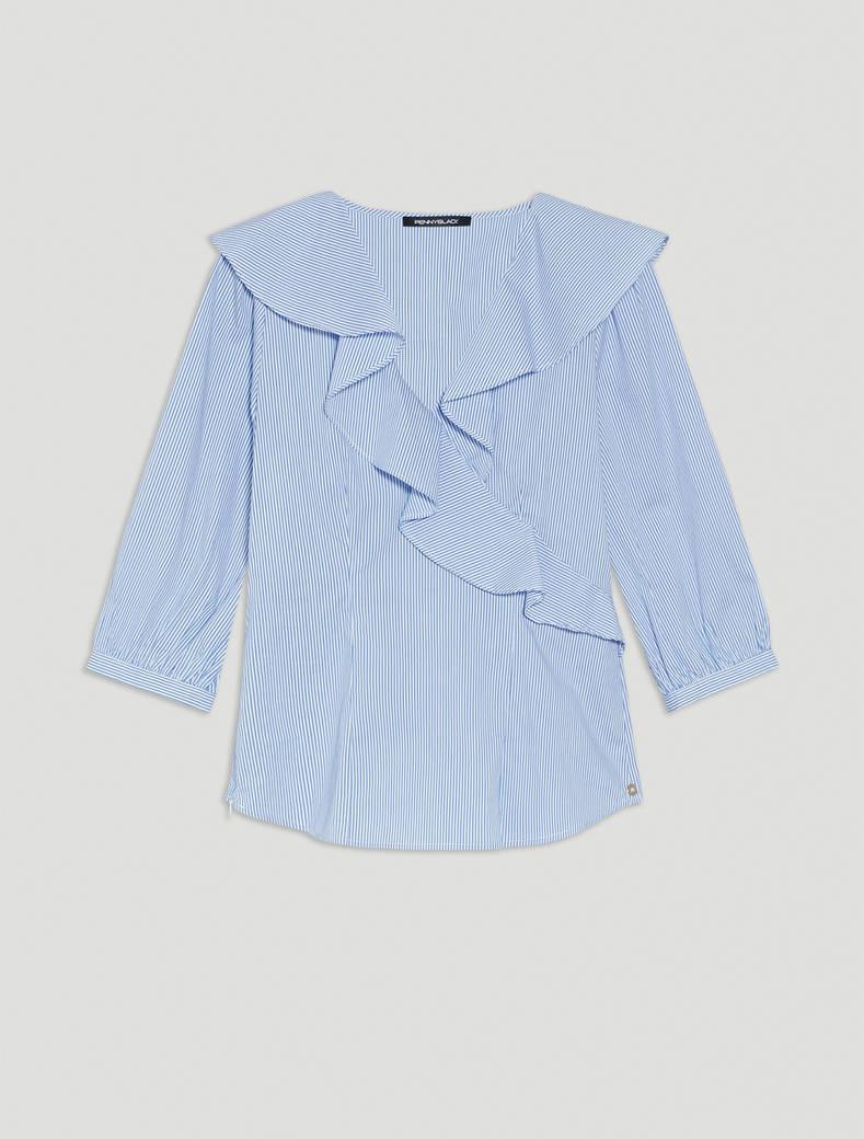 Poplin blouse with flounce - light blue pattern - pennyblack