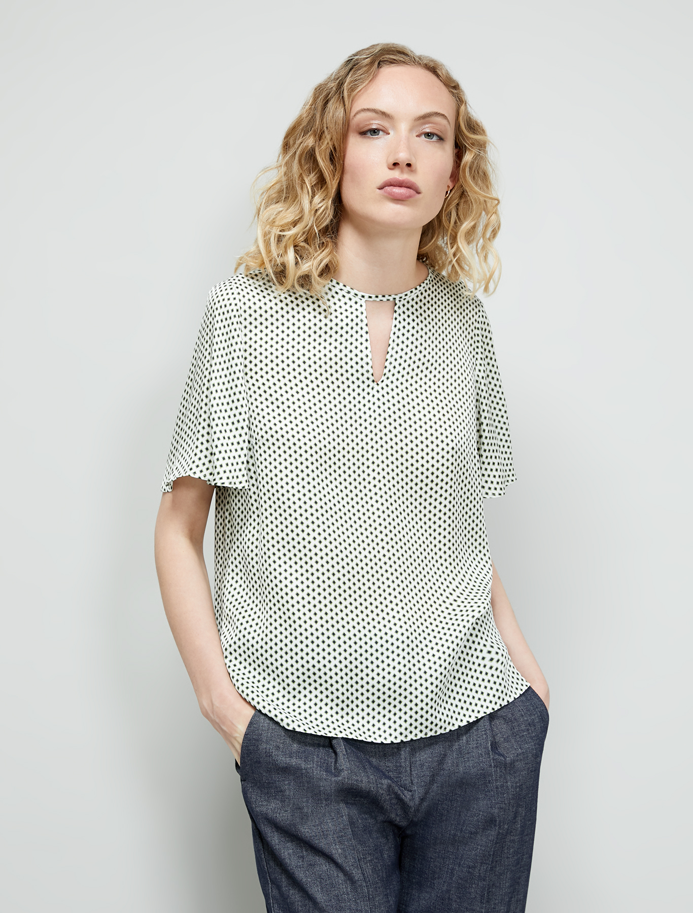 Micro-patterned blouse - olive green pattern - pennyblack