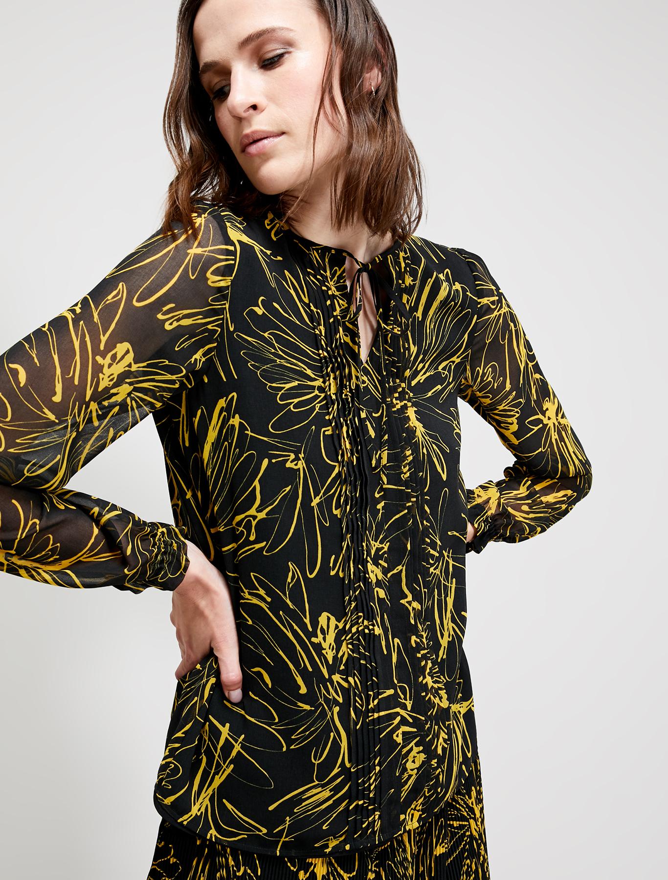 Patterned georgette blouse - black pattern - pennyblack