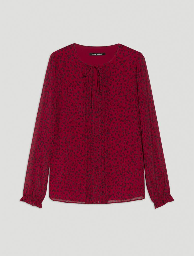 Patterned georgette blouse - red pattern - pennyblack