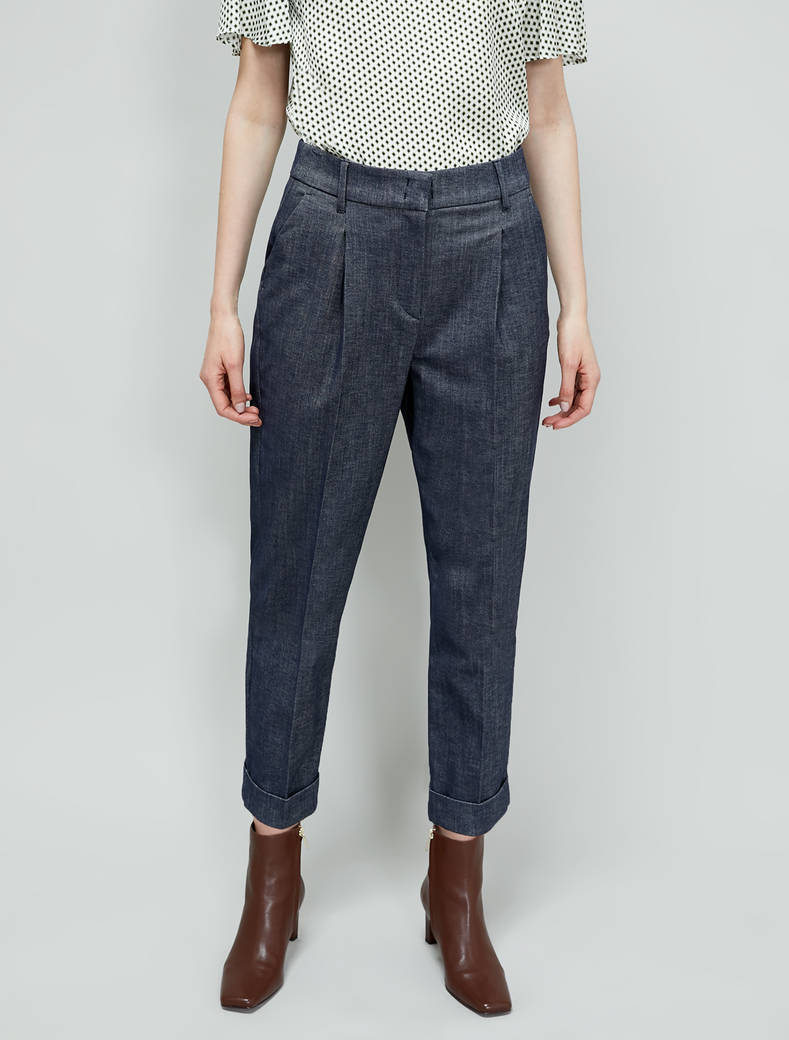 Cotton twill trousers - navy blue - pennyblack