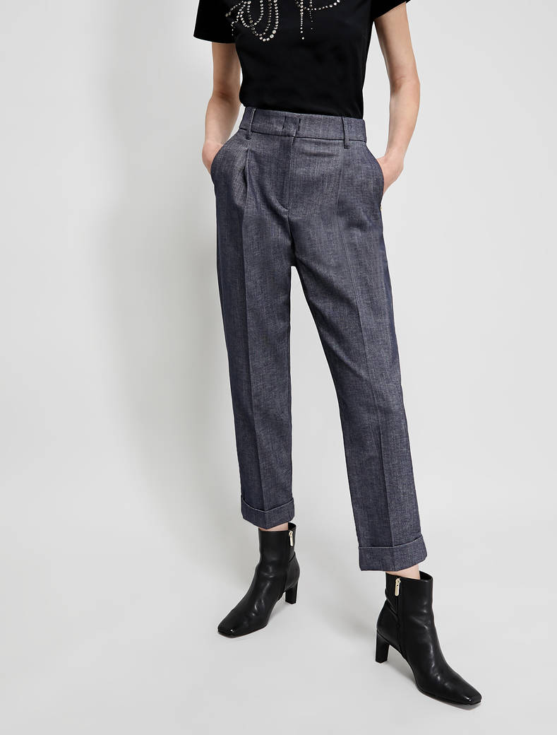 Carrot trousers in cotton twill - navy blue - pennyblack