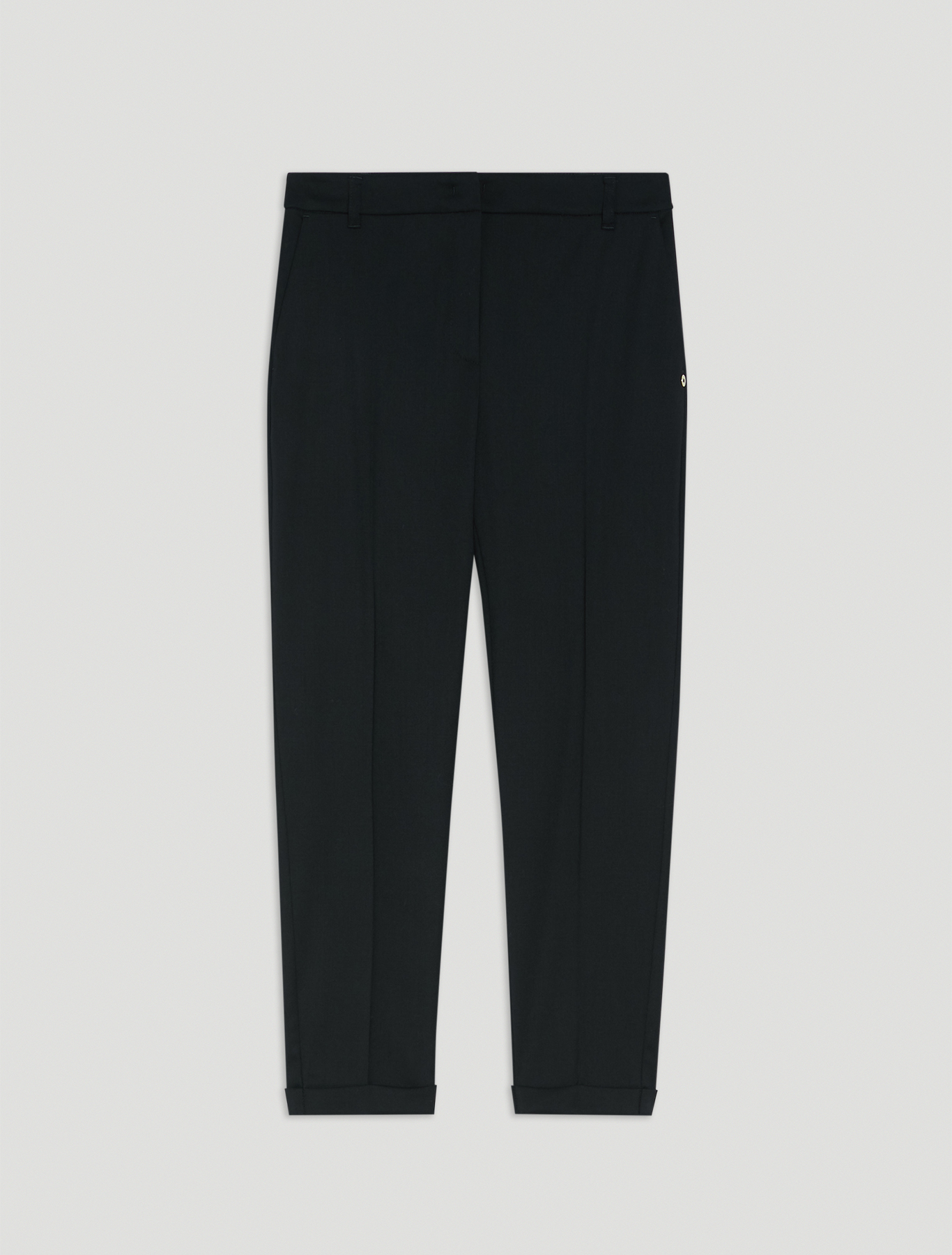 Stretch wool slim trousers - black - pennyblack