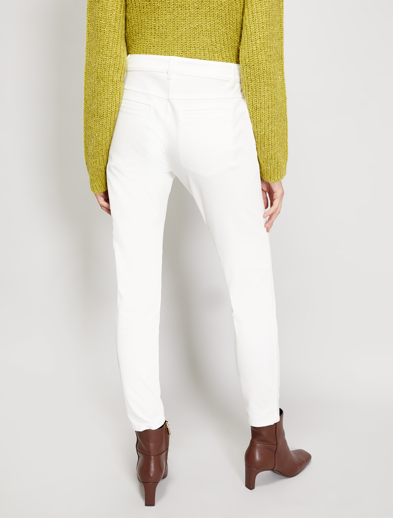 Skinny-fit twill trousers - white - pennyblack