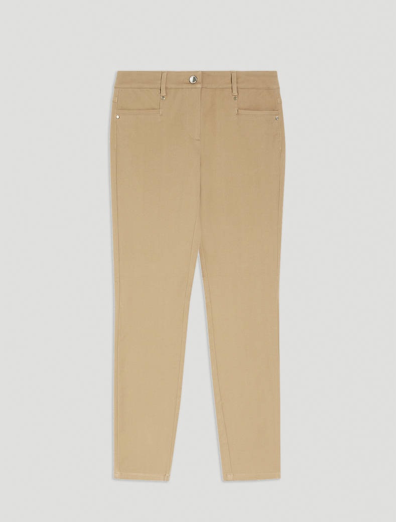Skinny-fit twill trousers - camel - pennyblack