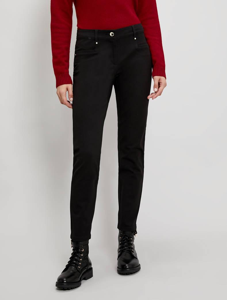 Skinny-fit twill trousers - black - pennyblack