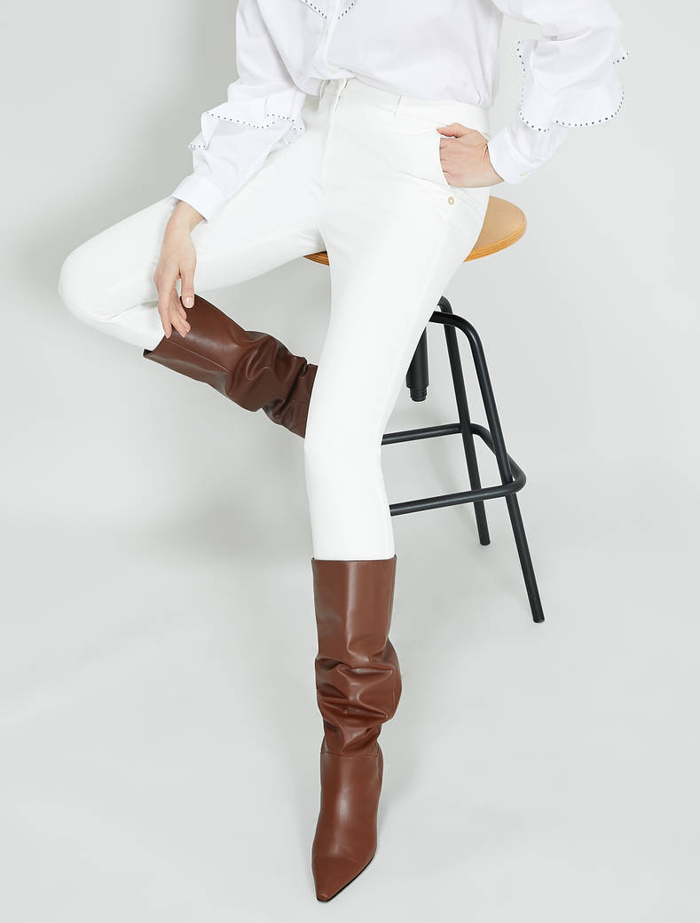 Slim twill trousers - white - pennyblack