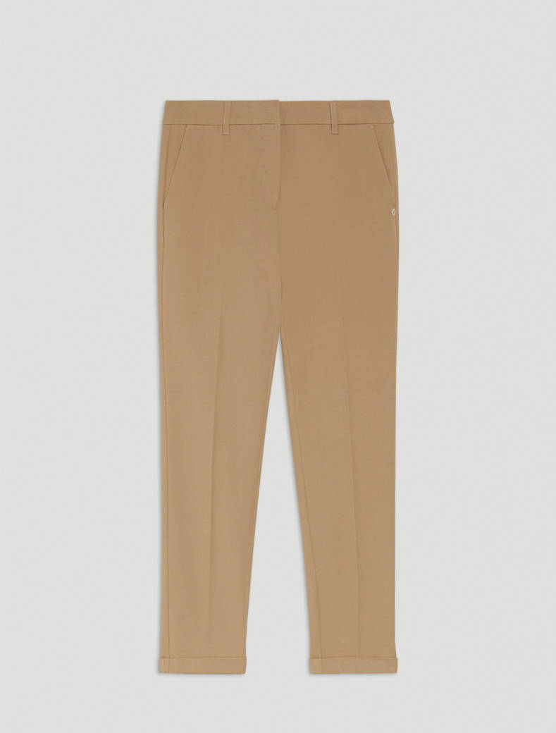 Slim twill trousers - camel - pennyblack