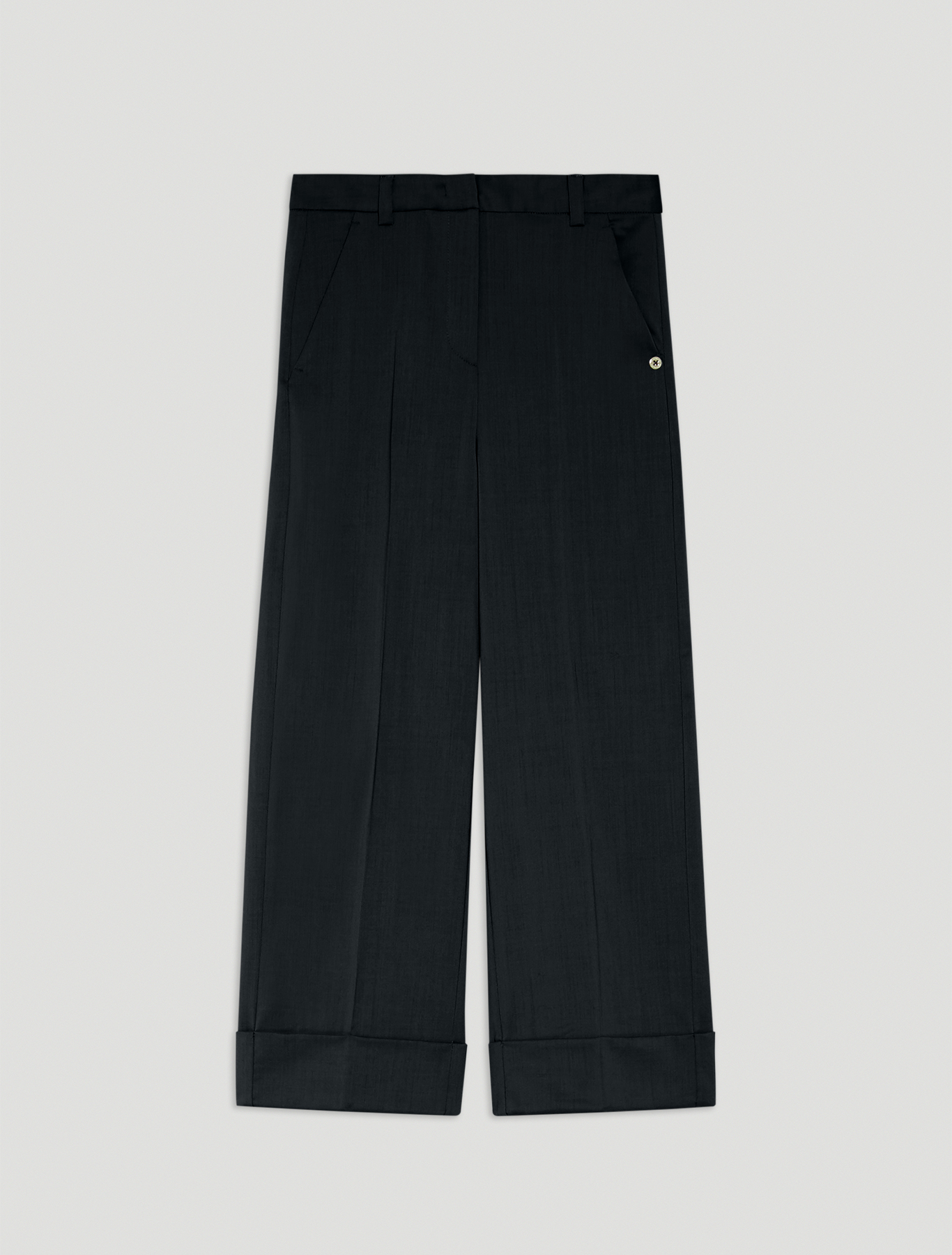 Wool twill trousers - black - pennyblack