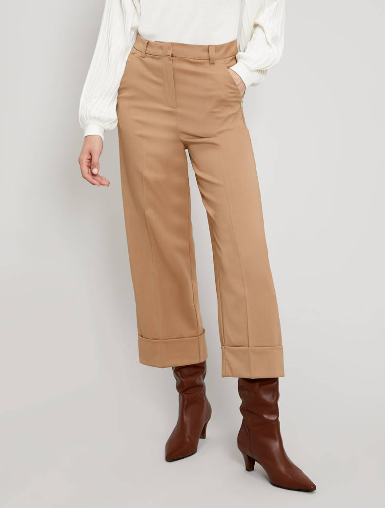 Wool twill trousers - camel - pennyblack