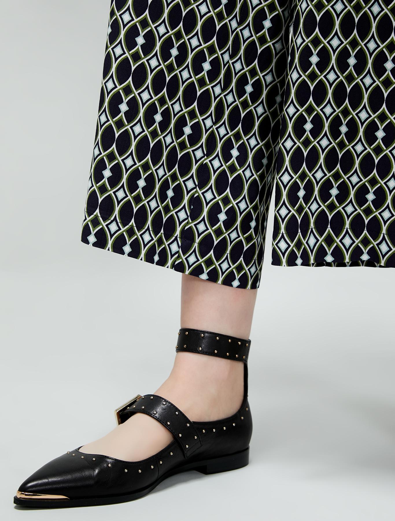 Wide-leg twill trousers - green pattern - pennyblack