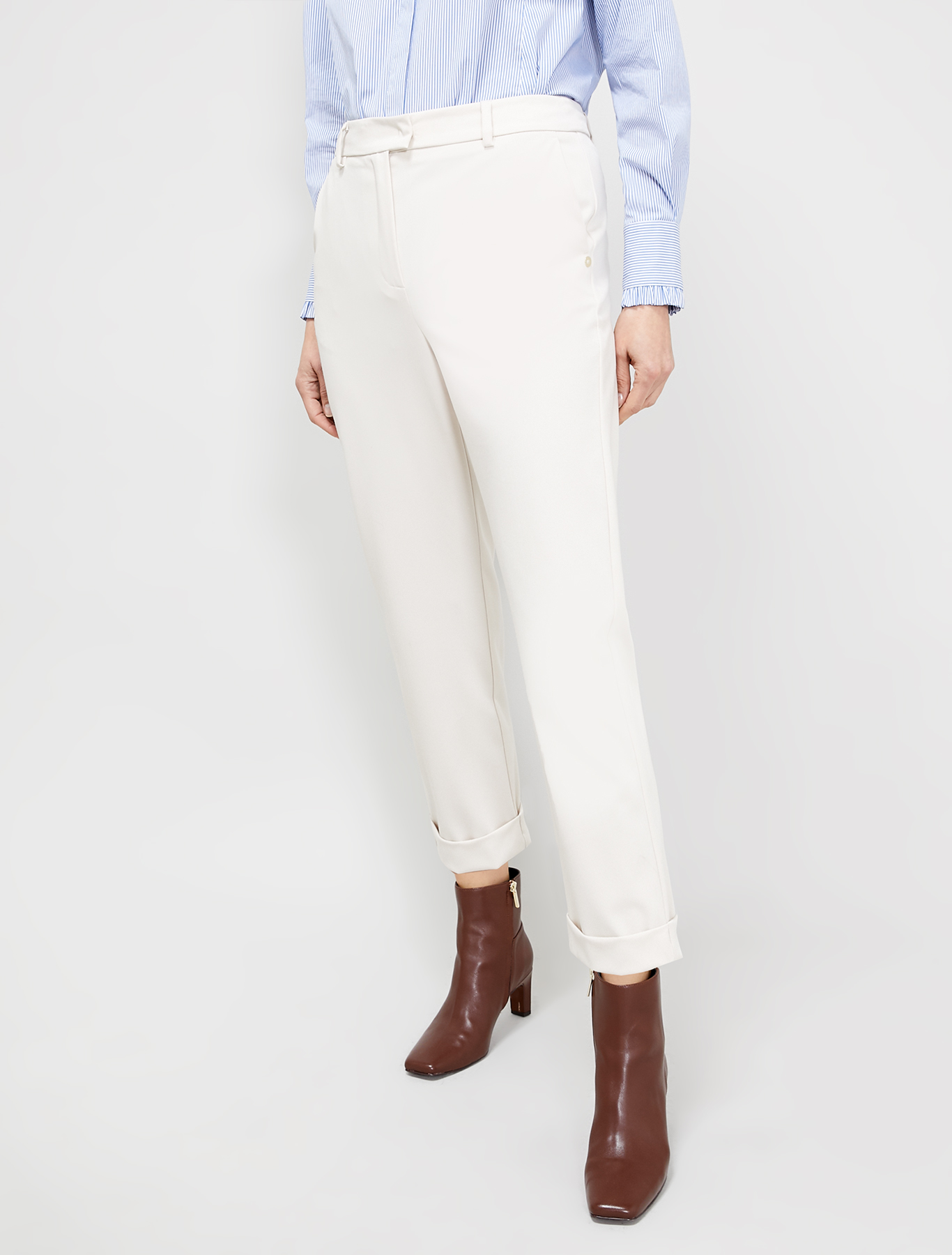 Tapered twill trousers - ivory - pennyblack