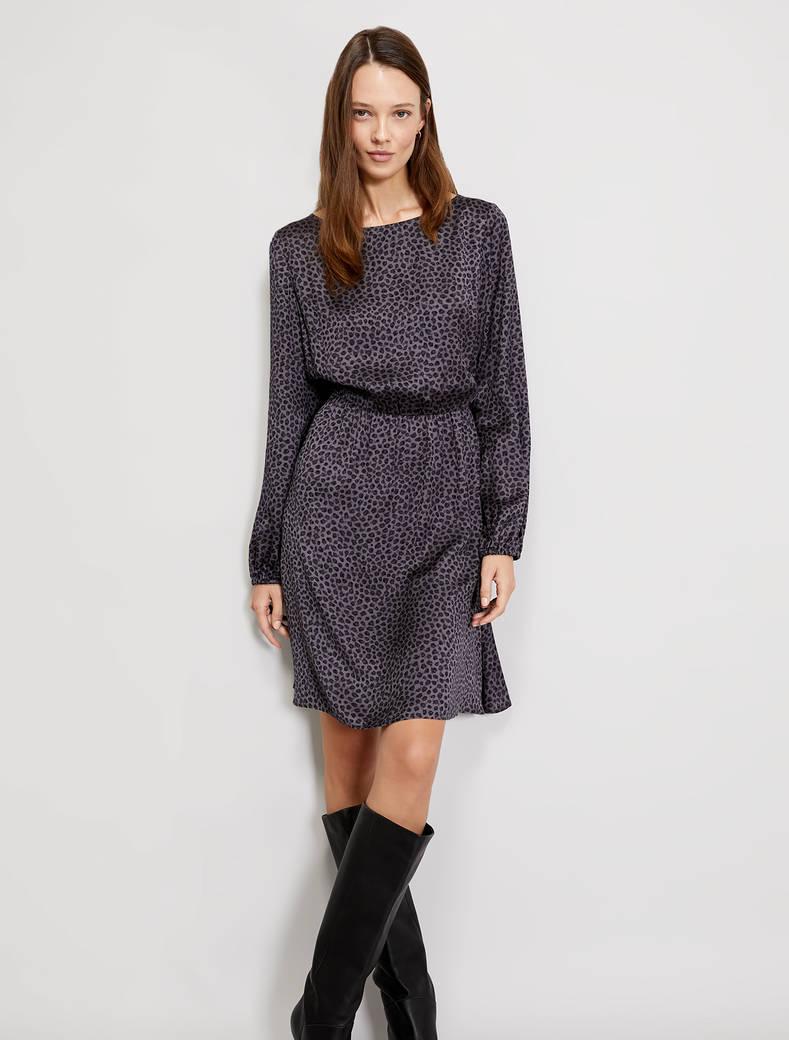 Spotted micro-patterned dress - dark grey pattern - pennyblack