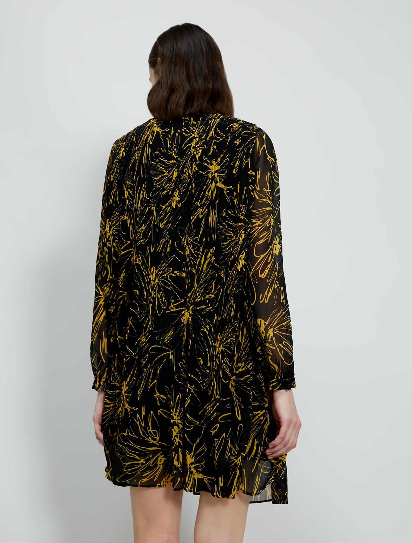 Pleated georgette dress - black pattern - pennyblack
