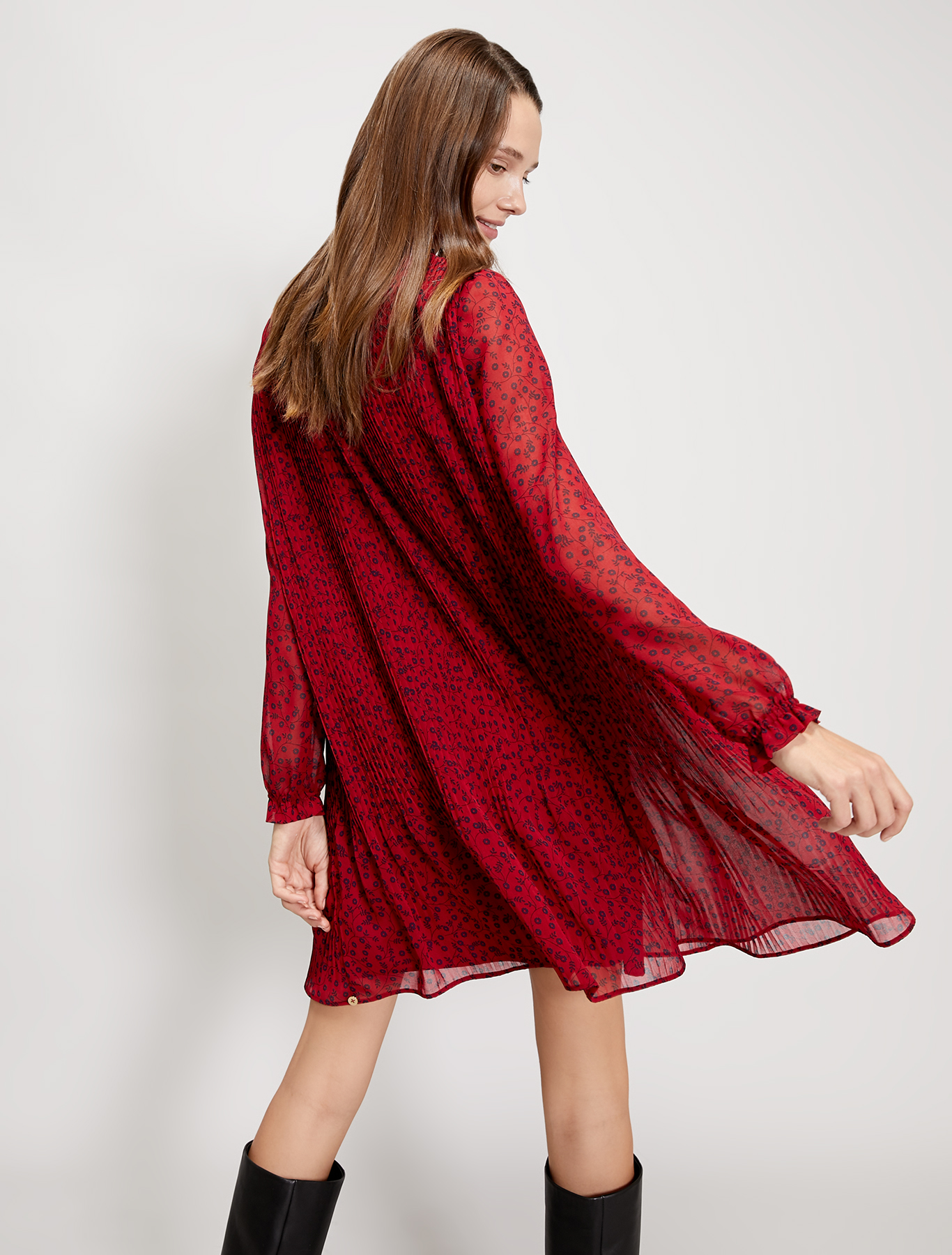 Pleated georgette dress - red pattern - pennyblack