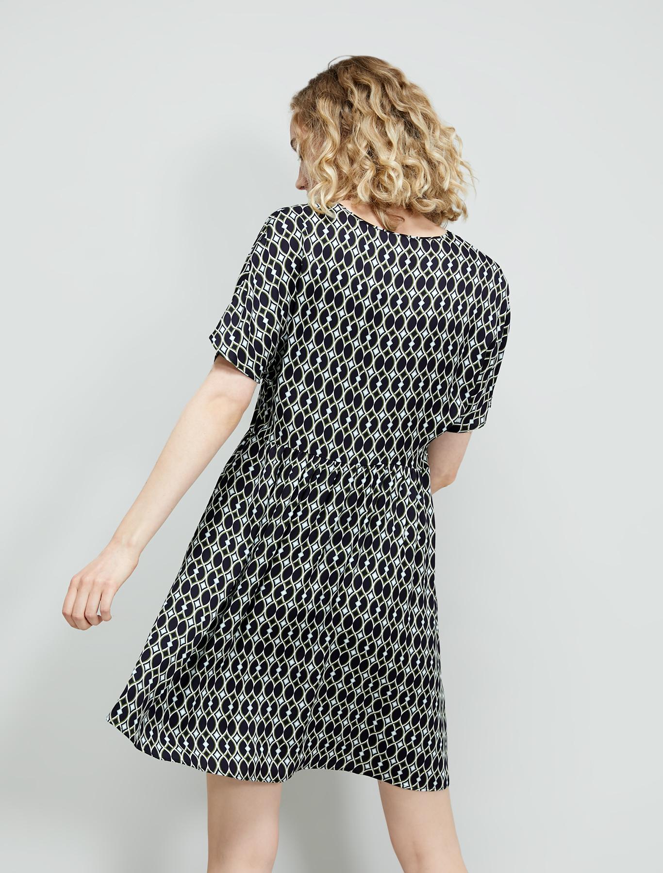 Patterned twill dress - green pattern - pennyblack