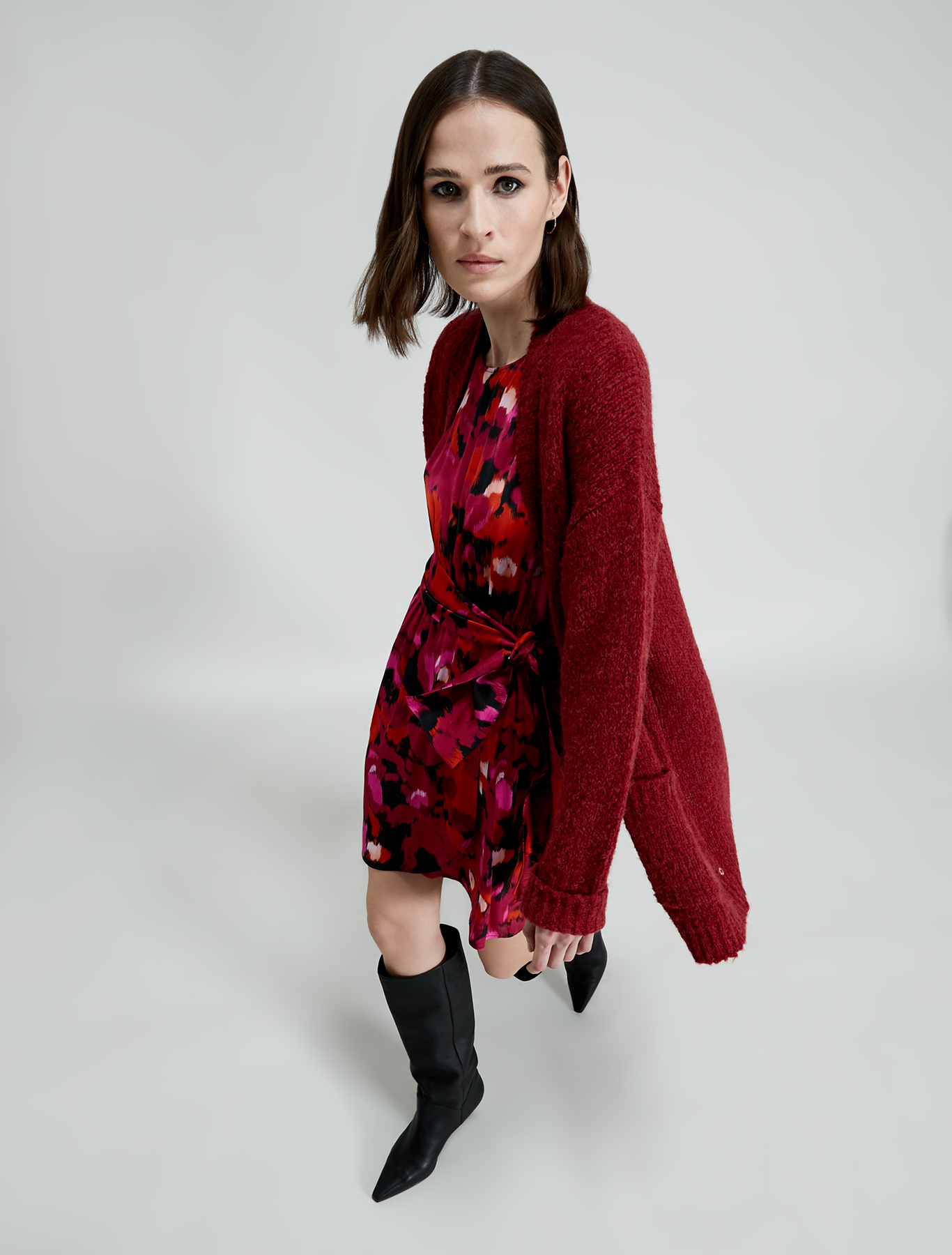 Alpaca blend cardigan - red - pennyblack