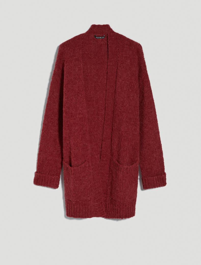 Cardigan in alpaca blend - rosso - pennyblack