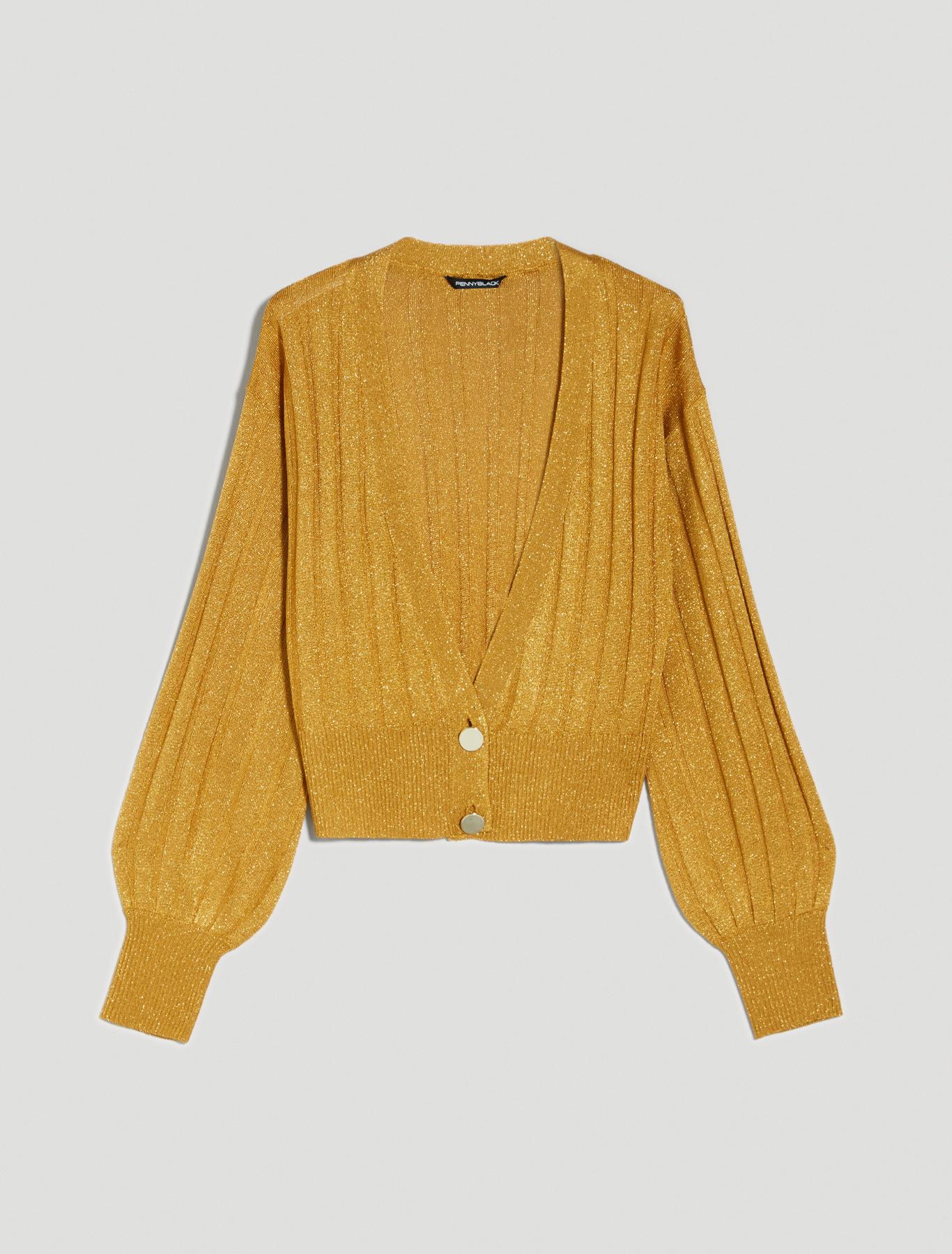 Lamé tricot cardigan - sunshine yellow - pennyblack