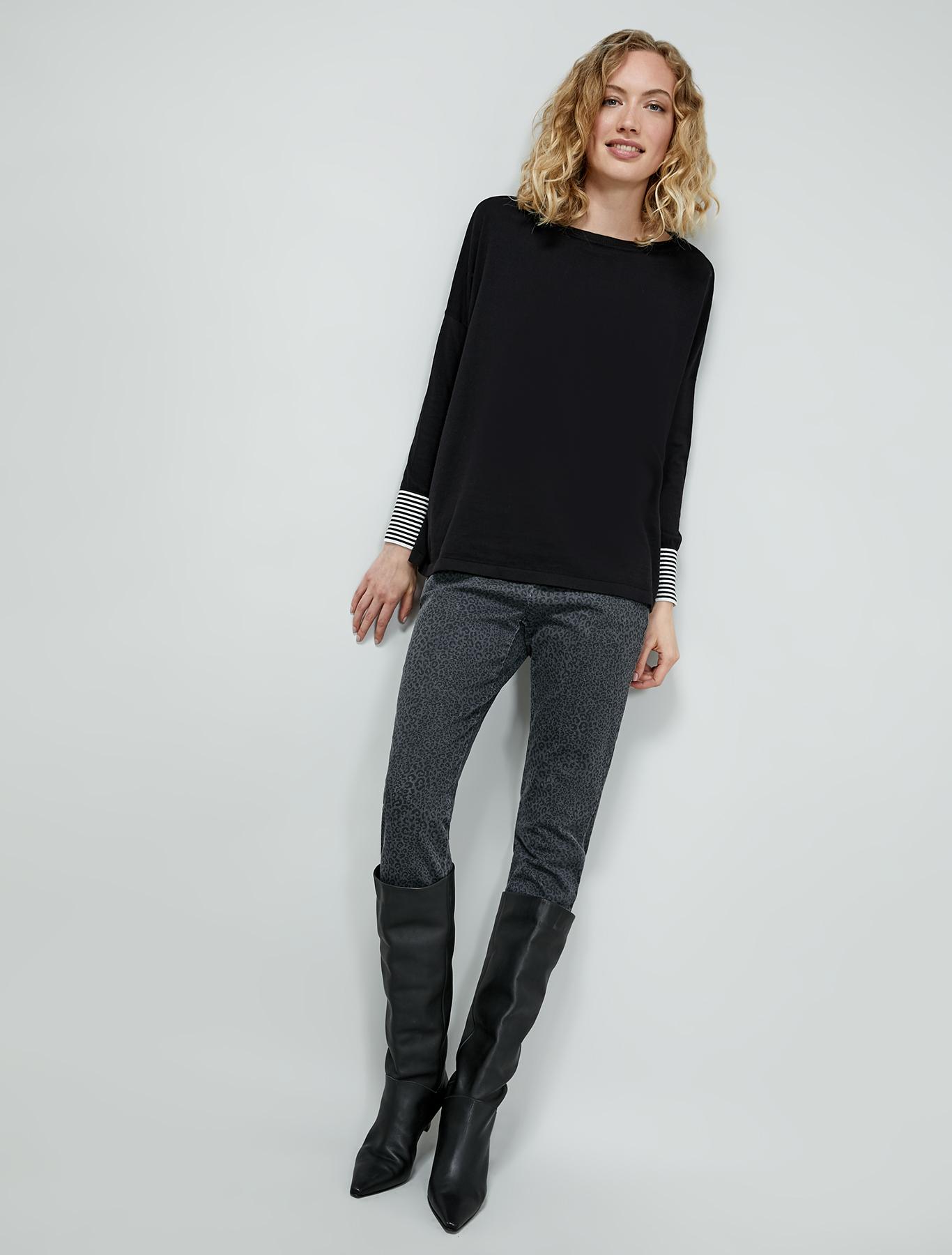 Silk and cotton oversized jumper - black - pennyblack