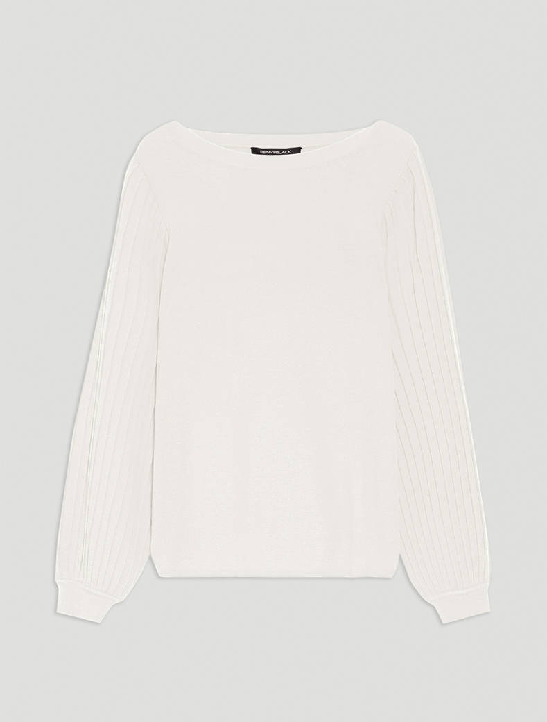 Jumper with puffed sleeves - ivory - pennyblack