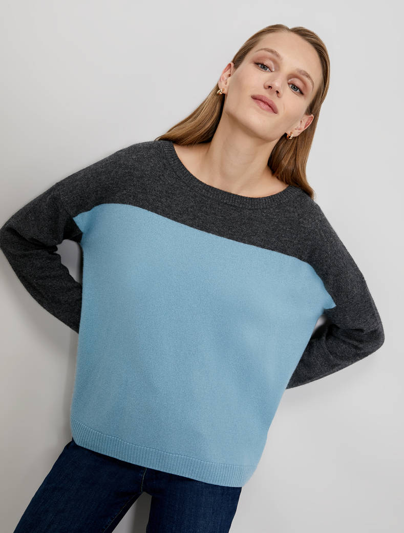 Wool and cashmere jumper - black pattern - pennyblack