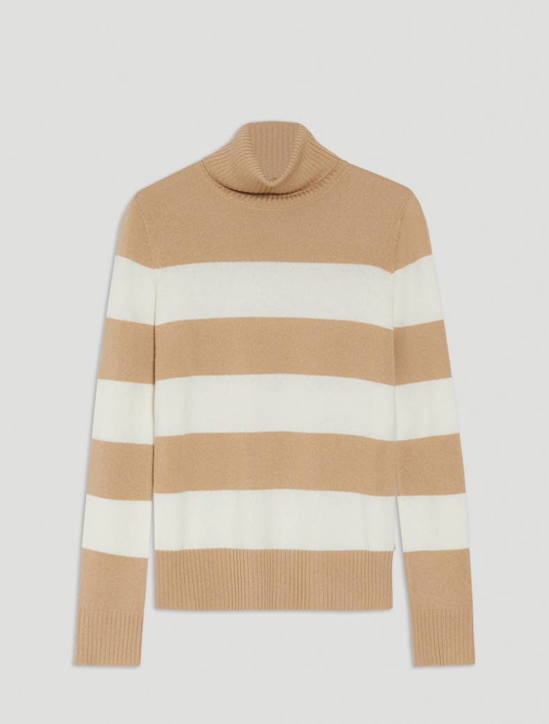 Wool and cashmere turtleneck - camel - pennyblack
