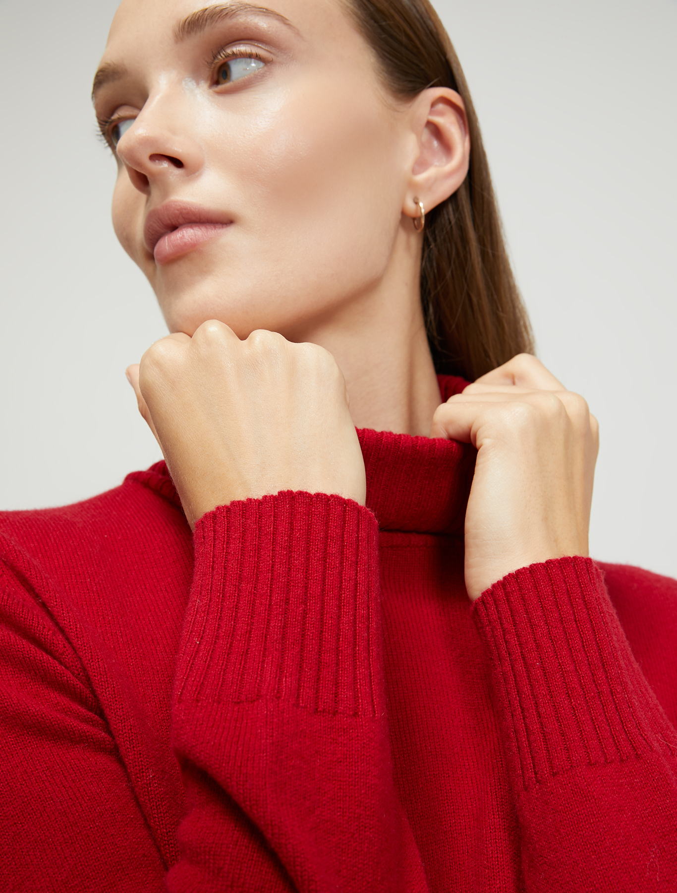 Wool and cashmere turtleneck - red - pennyblack