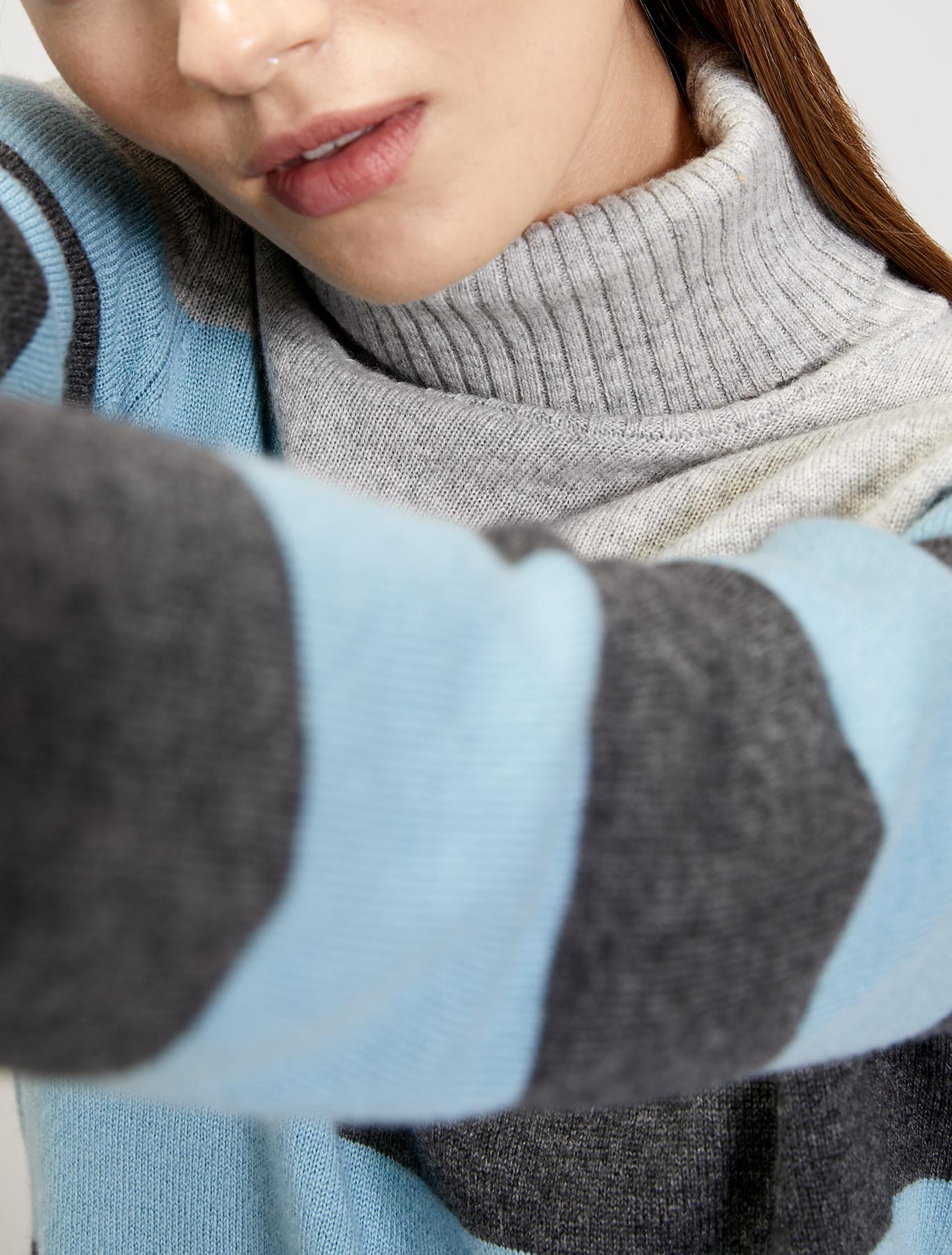 Wool and cashmere turtleneck - dark grey pattern - pennyblack