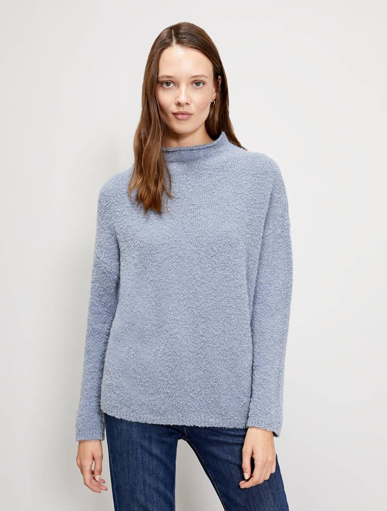 Jumper in bouclé yarn - light blue - pennyblack