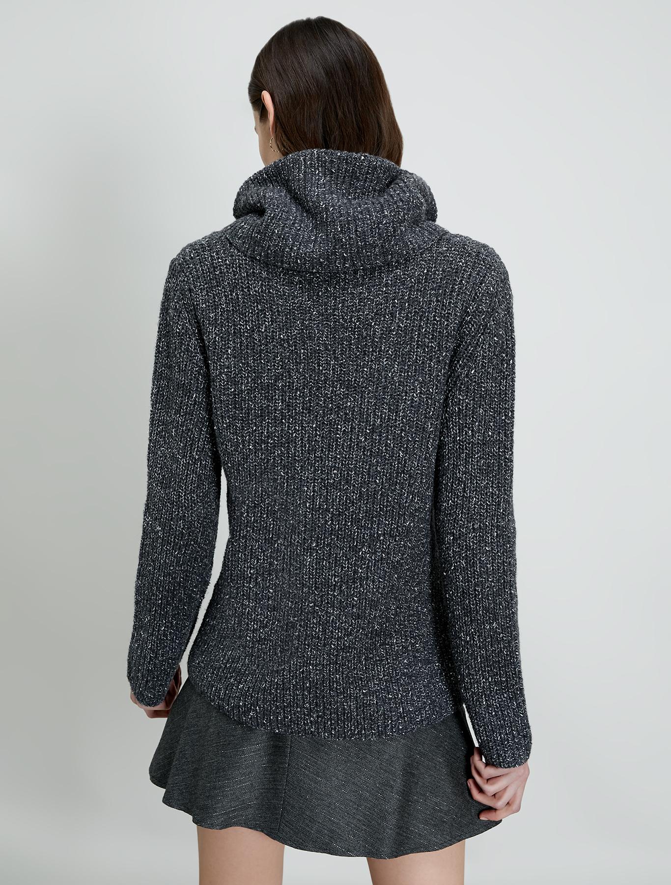 English ribbed tweed pullover - medium grey - pennyblack